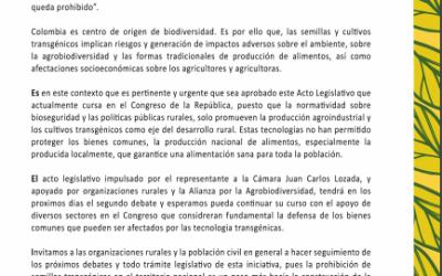 Comunicado «Organizaciones sociales respaldan el proyecto de acto legislativo, que busca prohibir las semillas transgénicas en Colombia»